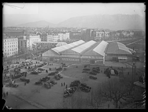 Genève, plaine de Plainpalais: salon de l'automobile