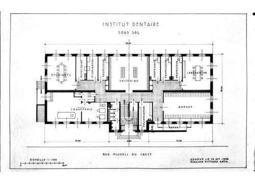 Genève, rue Micheli-du-Crest: plan du sous-sol de l'Institut dentaire par l'architecte Maxime Pittard