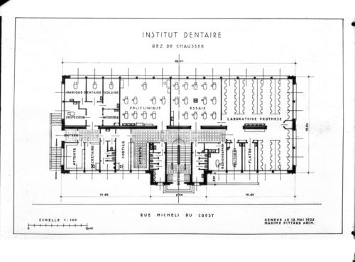 Genève, rue Micheli-du-Crest: plan du rez-de-chaussée de l'Institut dentaire par l'architecte Maxime Pittard