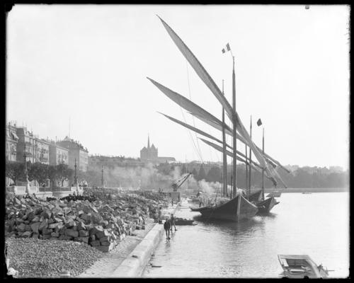 Genève, quai Gustave-Ador actuel: barque lémanique