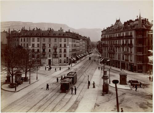 Genève, rond-point de Plainpalais: vue en direction de la rue de Carouge