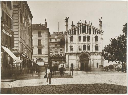 Genève, la place Bel-Air vers 1863