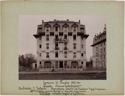 Genève, avenue de Sécheron: immeuble ouvrier primé au concours des façades de la Société des intérêts de Genève