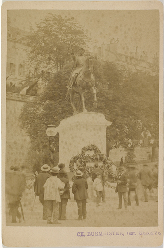 Genève, place de Neuve: commémoration autour de la statue du général Dufour