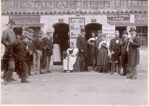 Genève, Exposition nationale: le restaurant Bettelried au village suisse
