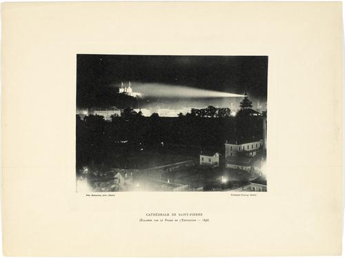 Genève, Exposition nationale: la cathédrale éclairée par le phare