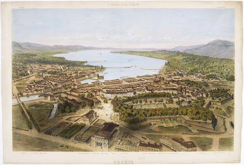 Genève, vue cavalière de la ville prise au dessus du bâtiment électoral