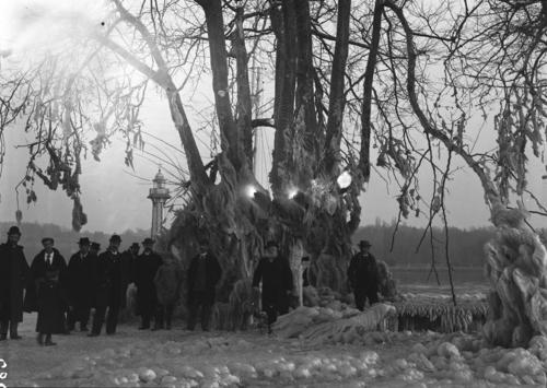 Genève, portrait de groupe sur la jetée des Pâquis recouverte de glace