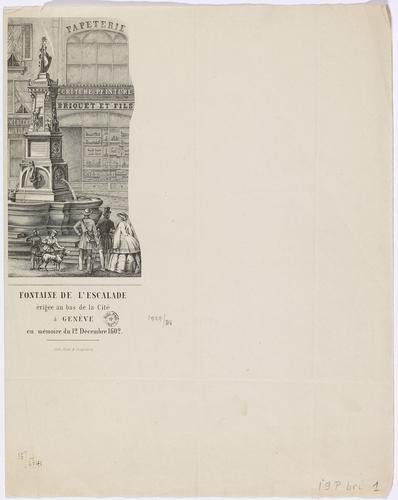 Genève, Cité: fontaine de l'Escalade (papier à lettre de Briquet et fils, papeterie)