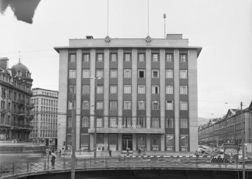Genève, place Bel-Air: immeuble du Crédit suisse