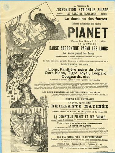Genève, Exposition nationale: parc de plaisance (théâtre et ménagerie Pianet)
