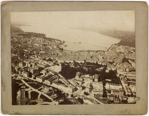 Genève, Exposition nationale: vue aérienne de la ville et du lac prise du ballon captif