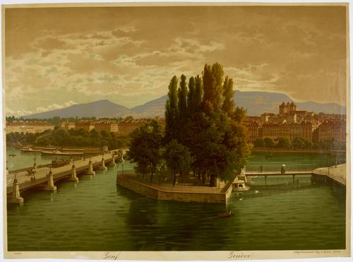 Genève, l'île Rousseau prise du quai des Bergues
