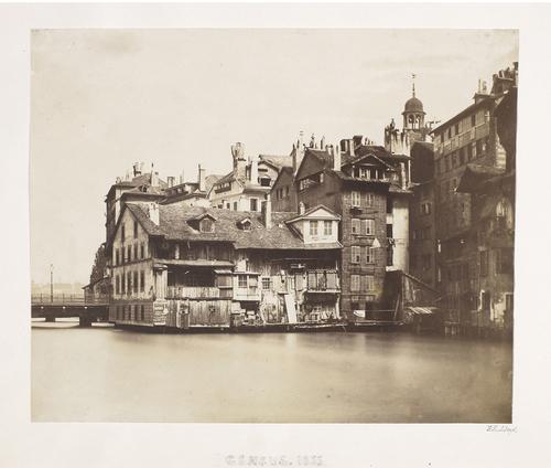 Genève, l'Ile prise du quai du Seujet vers 1855