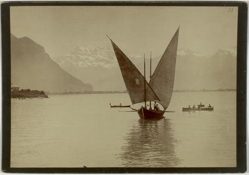 Léman, barque à voiles latines dans le haut lac