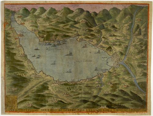 """Dessin du lac de Genève (""""Vero Dissegno del Lago di Geneva con i luoghi que l[0] circondano"""")"""