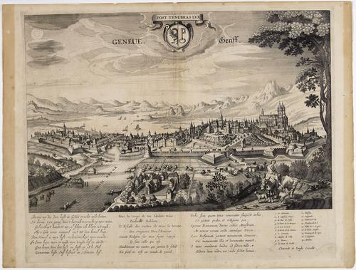 Vue de Genève prise du bois de la Bâtie