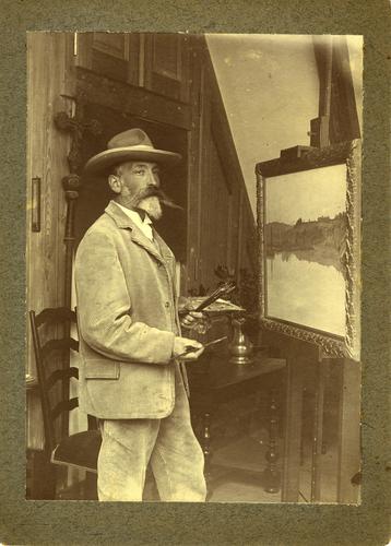 Portrait du peintre Albert Franzoni dans son atelier