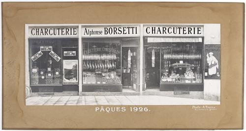 Réclame commerciale pour la charcuterie Alphonse Borsetti