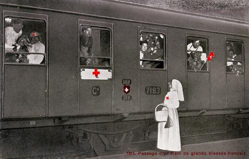 Genève, Cornavin: passage d'un train de grands blessés français