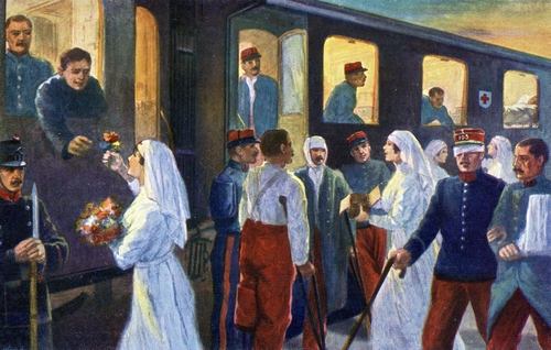 Suisse, passage des grands blessés français: Constance, Zurich, Berne, Fribourg, Lausanne, Genève, Lyon