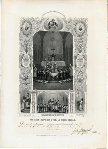 Genève, église Saint-Joseph: souvenir de la communion d'Auguste Dupont le 24.06.1886