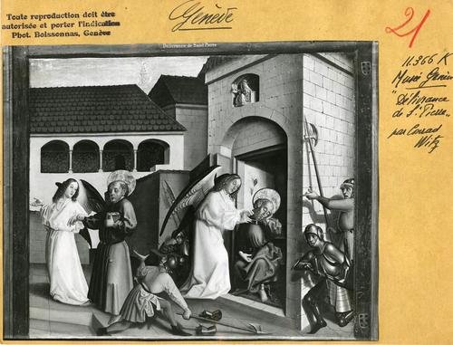 Genève, musée d'Art et d'Histoire: volet du retable de la cathérale, la délivrance de saint Pierre