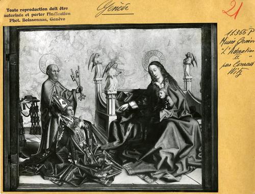 Genève, musée d'Art et d'Histoire: volet du retable de la cathérale (la présentation du donateur à la Vierge et à l'Enfant par saint Pierre)