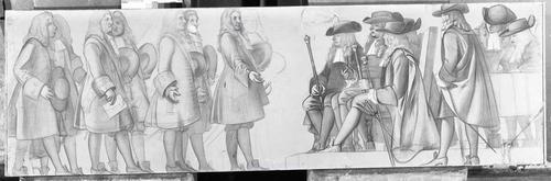 Dessin préparatoire pour le décor de l'Ancien Arsenal (1891-1892). 18e siècle: les bourgeois revendiquent leurs droits auprès des syndics