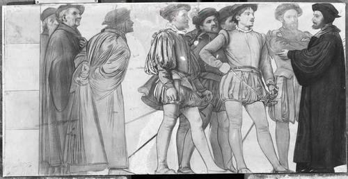 Dessin préparatoire pour le décor de l'ancien arsenal (1891-1892). 16e siècle: prêche de Guillaume Farel