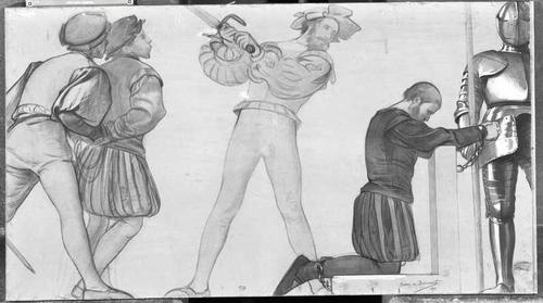 Dessin préparatoire pour le décor de l'ancien arsenal (1891-1892). 1519: exécution de Philibert Bertelier