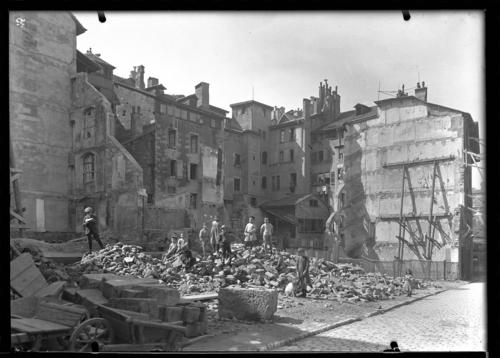 Genève, rue de la Rôtisserie: chantier de démolition
