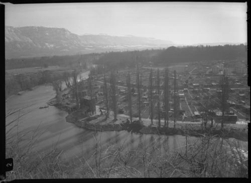 Carouge, Bout-du-Monde: l'Arve et les jardins du Val-d'Arve ainsi que l'emplacement du futur pont