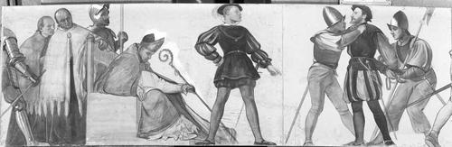 Dessin préparatoire pour le décor de l'ancien arsenal (1891-1892). 16e siècle: arrestation du syndic Pierre Lévrier
