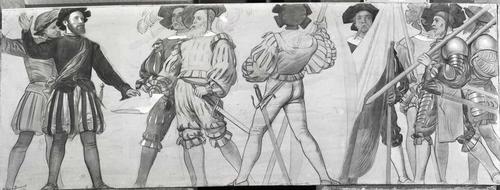 Dessin préparatoire pour le décor de l'ancien arsenal (1891-1892). 1526: la combourgeoisie avec Berne et Fribourg
