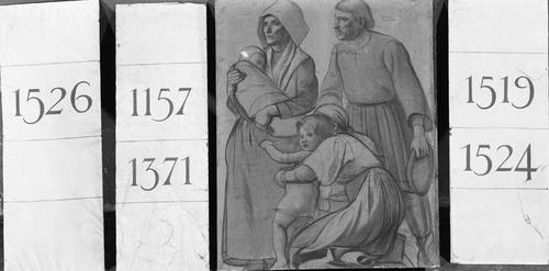 Dessin préparatoire pour le décor de l'ancien arsenal (1891-1892). Dates diverses et famille de la Genève ancienne