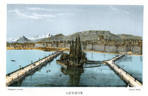 Genève, la rive gauche vue du quai des Bergues