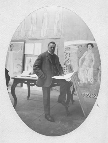 Ferdinand Hodler dans son atelier genevois