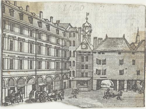 Genève, Molard: les halles, la tour et l'arcade (notes de musique v.)