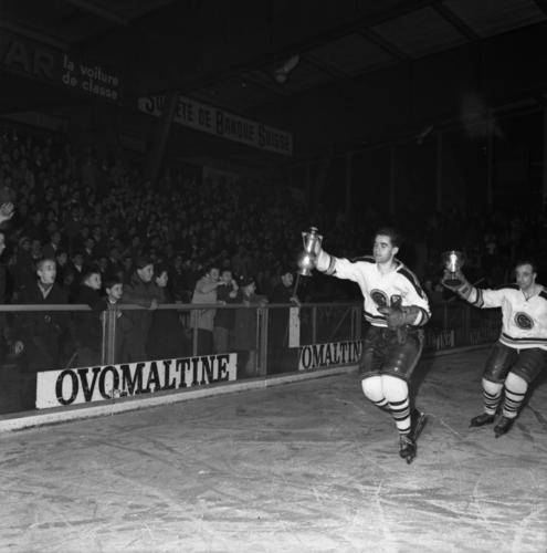 Genève, les Vernets: finale de la ligue nationale B de hockey sur glace, victoire de Genève-Servette sur le HC Bienne