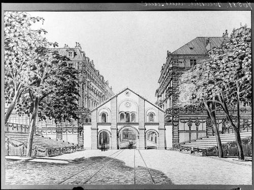 Genève, fêtes du Centenaire: projet pour l'évocation de la porte de Rive