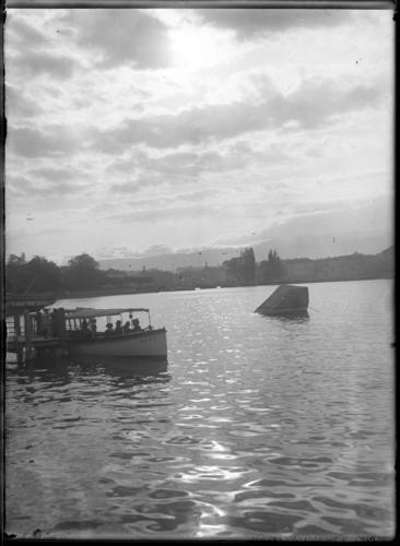 Genève, quai Gustave-Ador actuel: mouette genevoise à l'embarcadère