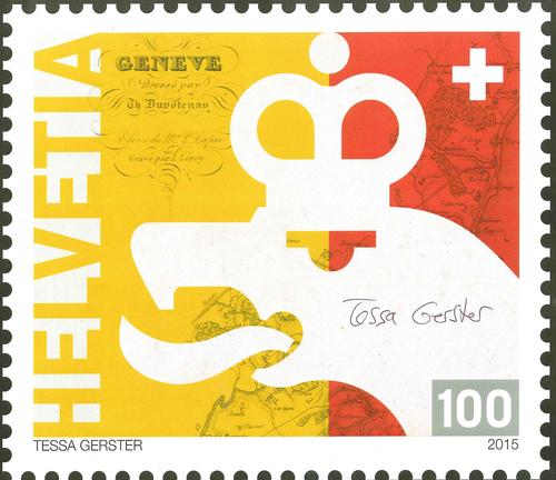 Genève, bicentenaire du rattachement du canton à la Confédération: agrandissement du timbre commémoratif à un franc