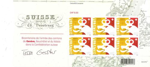 Genève, bicentenaire du rattachement à la Confédération: feuillet de six timbres commémoratifs à un franc