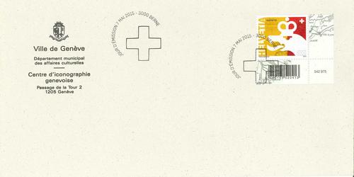 Genève, bicentenaire du rattachement à la Confédération: enveloppe affranchie d'un timbre commémoratif