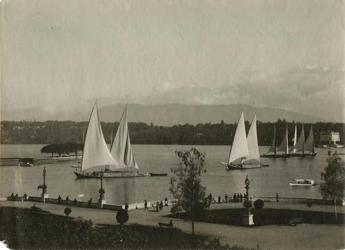 Genève, quai du Mont-blanc: barque lémanique transportant des pierres dans la rade