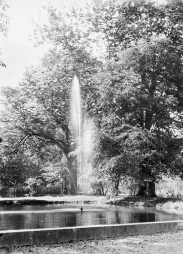 Haute-Savoie, Bossey: bassin et jet d'eau (au château ?) de Crevin