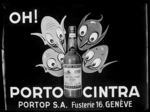 Genève, place de la Fusterie: publicité Porto Cintra