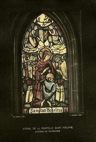 Haute-Savoie, Lugrin: château de Tourronde (vitrail de la chapelle vers 1935)