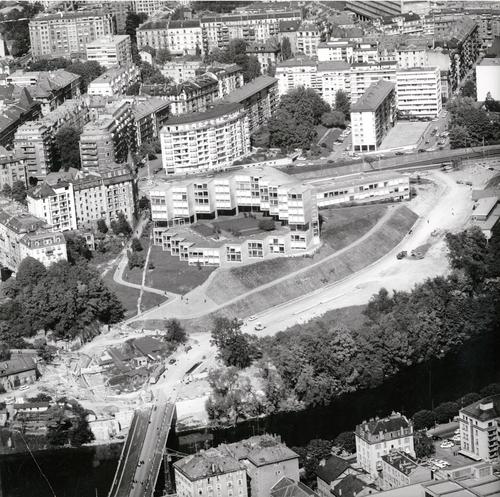 Genève, Saint-Jean: le chantier de la rue de Sous-Terre et l'école de commerce